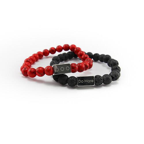 Armbanden set zwart met rood