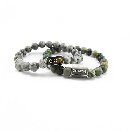 Armbanden set grijs met groen