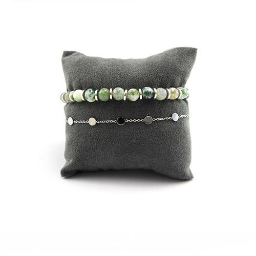 armbanden set zilver met groen