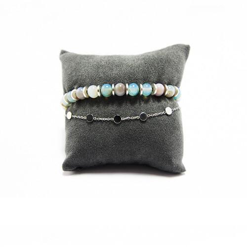 Armbanden set zilver met blauw