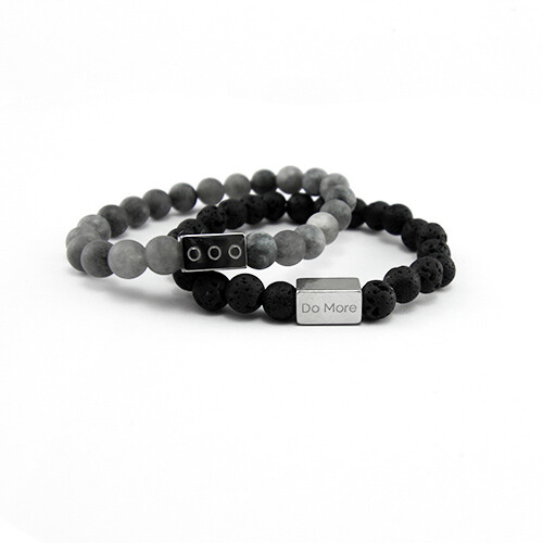 Armbanden set zwart met grijs